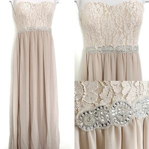 Beige/Nude Lace Strapless Bridesmaid Formal Dress